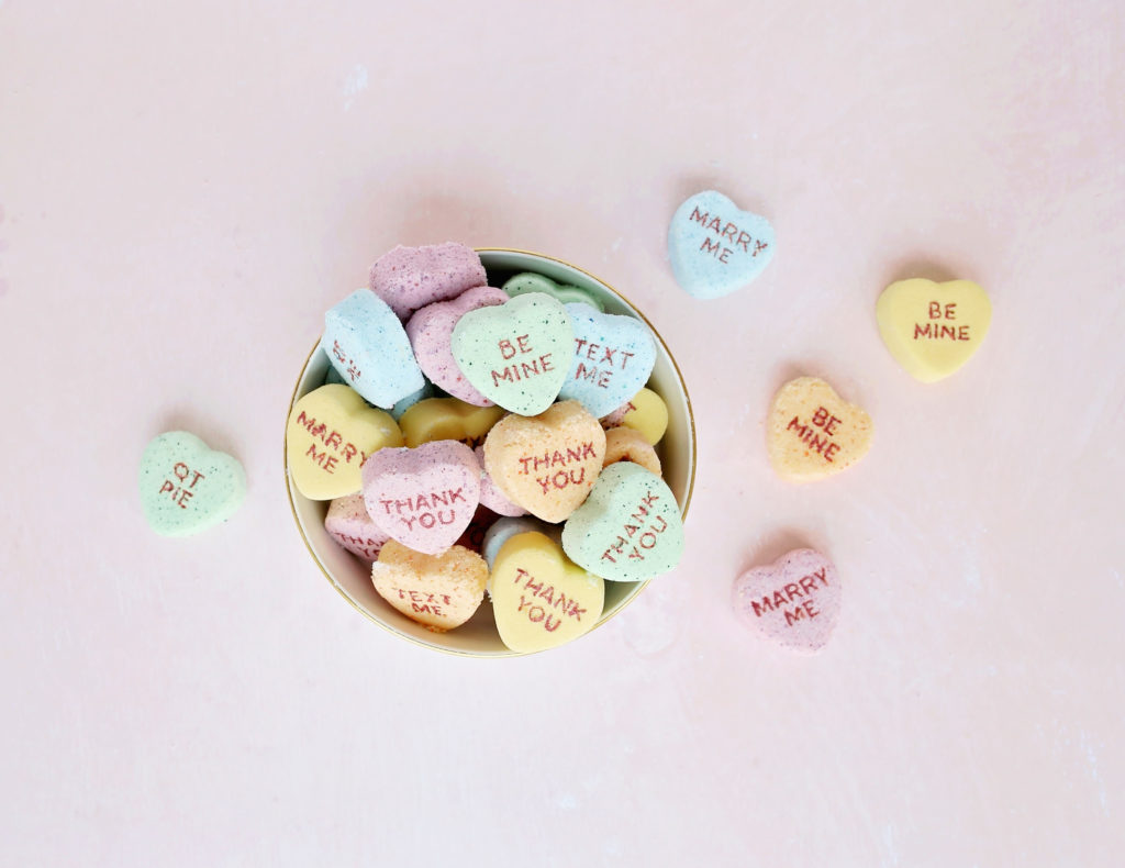 DIY Conversation Heart Bath Bombs | Washington FAMILY magazine