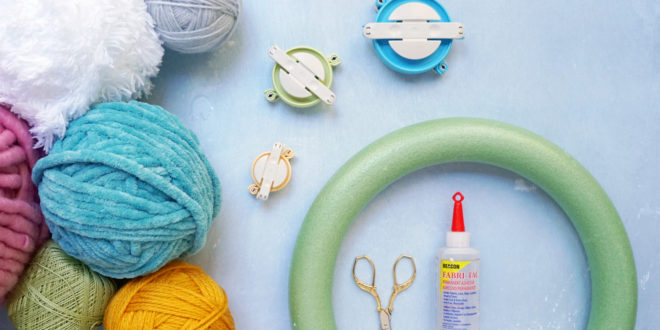 Supplies for DIY Colorful Yarn Wreath for Spring on Washington FAMILY magazine