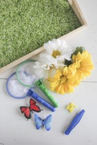 Supplies for DIY Butterfly Sensory Bin