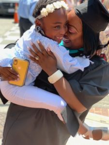 LaJoy Johnson-Law at her graduation with her daughter