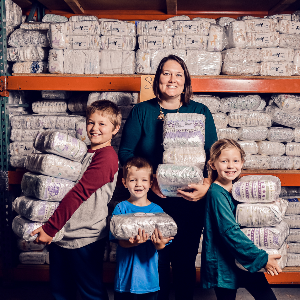 Corinne Cannon and kids at Greater DC Diaper Bank