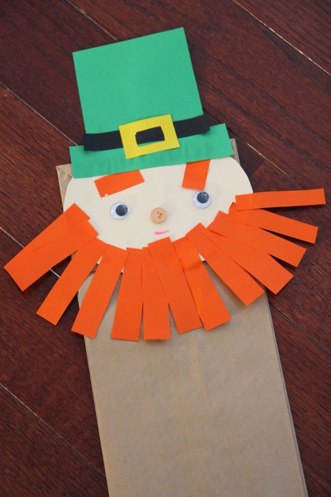 Paper Bag Leprechaun St. Patrick's day crafts for kids